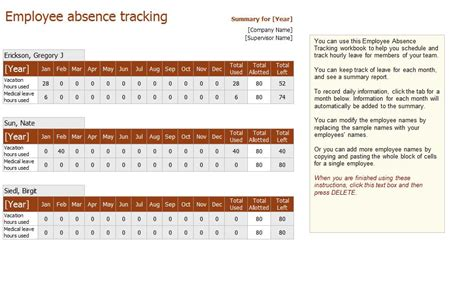 employee absence tracking excel templates