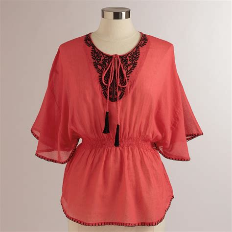 embroidered peasant blouse coral embroidered smock waist jasmeet peasant blouse
