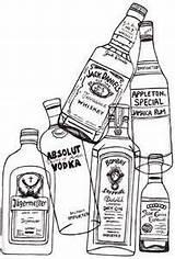 Bottles Liquor Drawing Rum Bottle Alcohol Glass Vodka Puzzle Absolut Tequila Coloring Drinks Menue Etiquette Unique sketch template