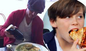 david cuisine david beckham tucks into pie and mash as soon as he jets into but his boys like u s