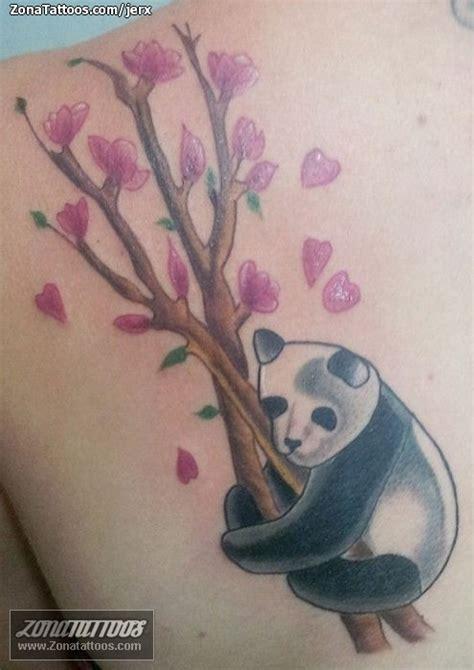 tatuaje de osos panda flores animales