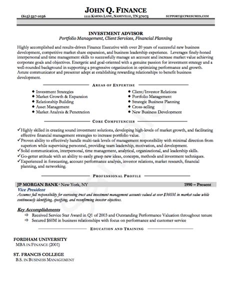 Exle Of Child Model Resume by Investment Advisor Resume Exle 28 Images Financial