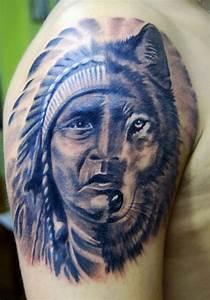 Half face of native american man half wolf tattoo on ...