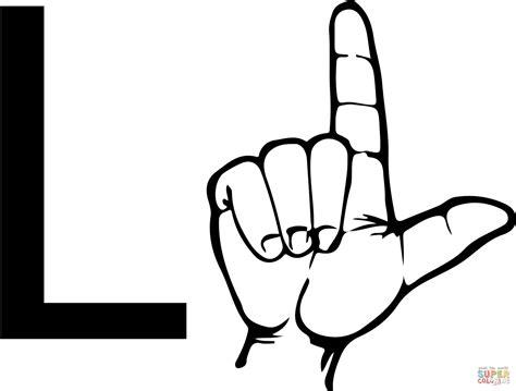 Asl Sign Language Letter L Coloring Page