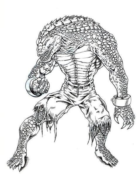 coloring pages killer croc printable  kids adults