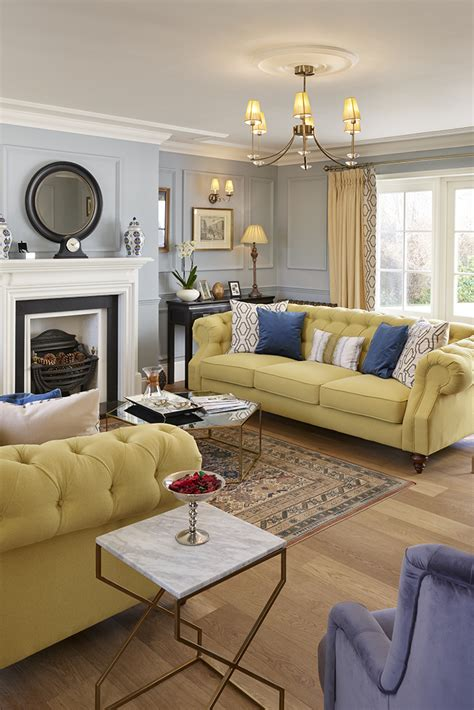 Traditional luxurious living space with pale yellow
