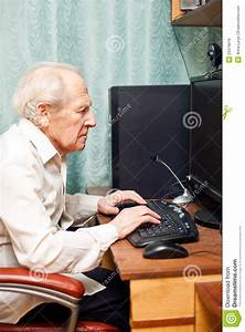 Old Man Working On Computer Royalty Free Stock Images ...