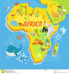 Map of Africa with Animals Cartoon