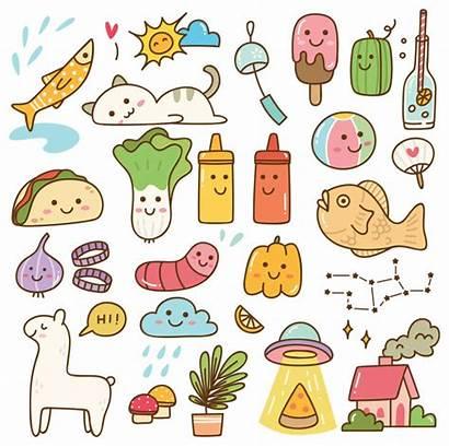 Kawaii Doodle Premium Conjunto Zestaw Lato Faces