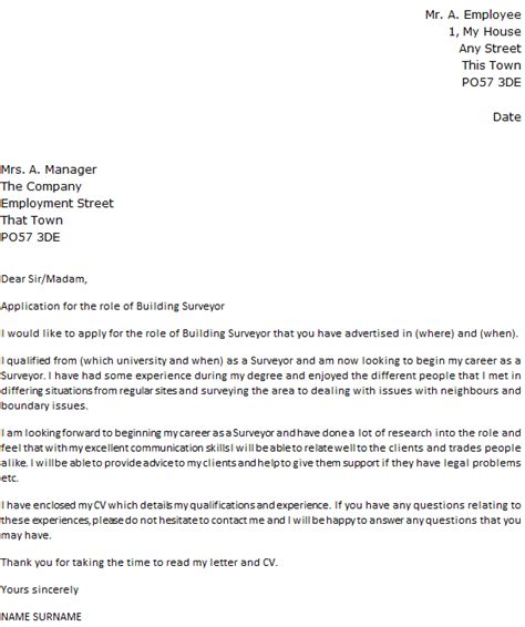 Surveyor Resume Cover Letter by Building Surveyor Cover Letter Exle Cover Letters And Cv Exles