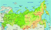 Physical geography map of the Russian Federation ...