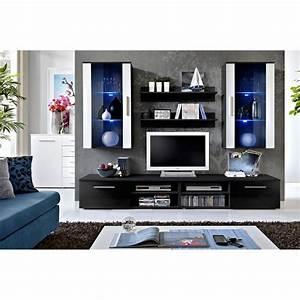 Meuble Tv Mural : meuble tv mural design galino vii black noir blanc ~ Teatrodelosmanantiales.com Idées de Décoration