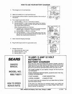 Page 6 Of Sears Automobile Battery Charger 608 718571 User