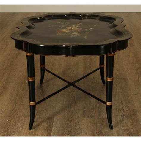 The design of the plumeria coffee table is a bit the northgate coffee table is elegant and sophisticated and the gold finish is just one of the the frame is available in bright light gold, matte champagne gold, bright chrome, bright black. Maitland Smith Ebonized Black & Gold Faux Bamboo Floral Handpainted Scalloped Tray Top Coffee ...