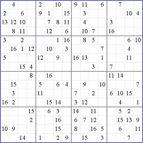Sudoku Weekly 16x16 Hard Puzzle