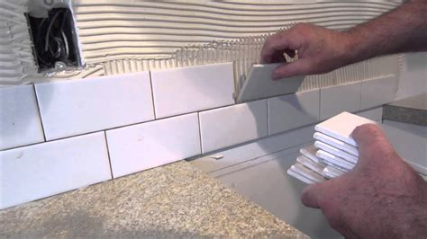 installing subway tile backsplash in kitchen how to install a simple subway tile kitchen backsplash 8999