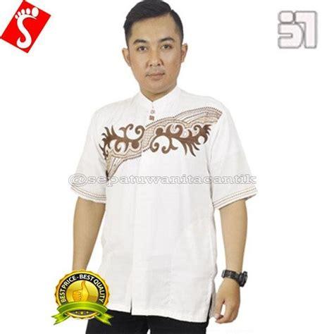 jual baju koko tangan pendek katun putih baju muslim pria
