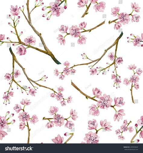Watercolor Sakura Pattern Seamless Natural Texture Stock