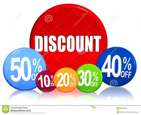 Discount Different Percentages In Color Circles Stock