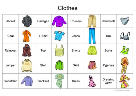 Clothes Vocabulary Worksheet  Free Esl Printable Worksheets Made By Teachers