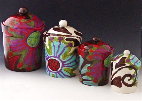 colorful kitchen canisters sets canister set of four fusion colorful pottery