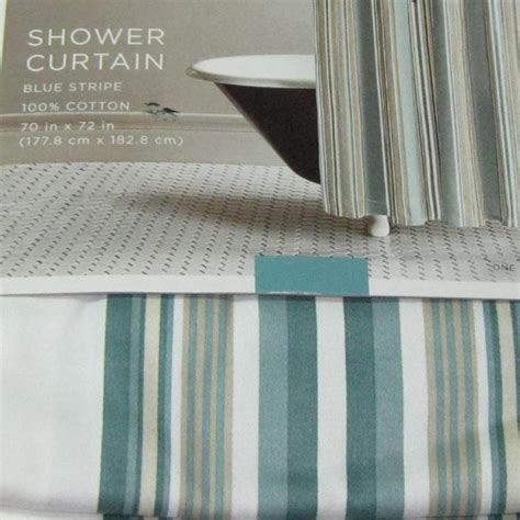 target home teal blue green stripe fabric shower curtain
