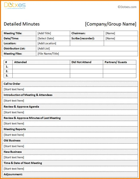 Meeting Minutes Template Free Meeting Minutes Template Authorization Letter Pdf