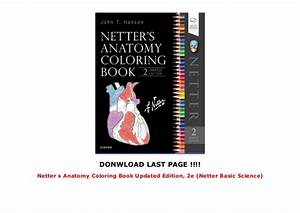 Netter S Anatomy Coloring Book Updated Edition  2e  Netter