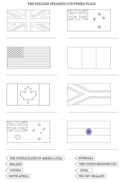 drapeaux  carte des pays anglophones