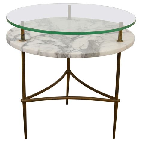 two tier end table a mid century two tier marble and glass side or end table