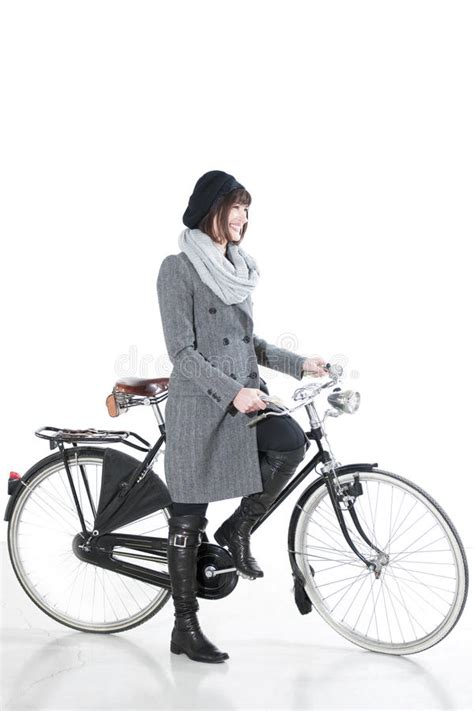 bicycle fashion stock image image  brunette glamour