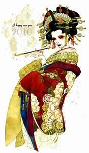 Safebooru - black hair eyeshadow geisha hair ornament ...