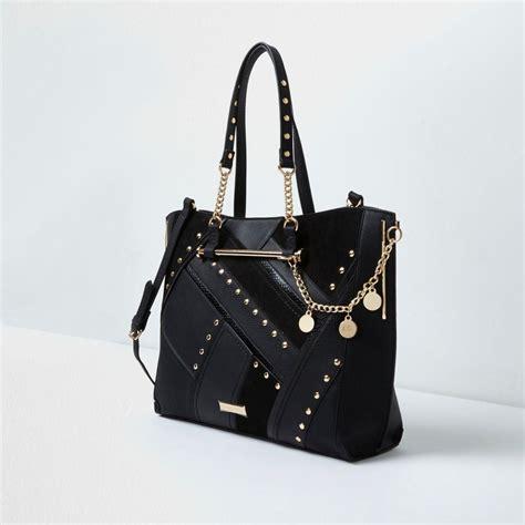 lyst river island black studded cutabout charm shopper tote bag  black