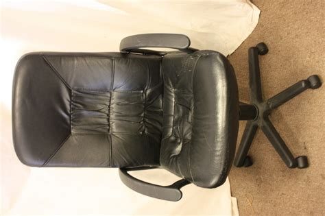 ikea allak black leather swivel office chair ebay