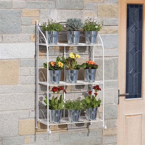 tier wire shelf folding metal plant stand clifford