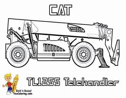 Coloring Construction Equipment Telehandler Heavy Caterpillar Tough