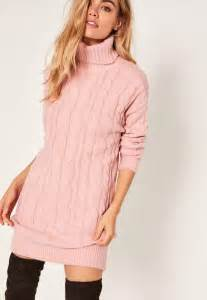 pink brushed cable knitted roll neck jumper dress missguided With robe en maille hiver
