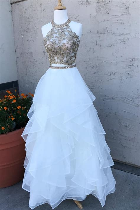 sparkly sequins  piece white long prom dress