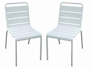 Chaise De Jardin Metal : lot de 2 chaises de jardin en m tal blanc marcala ~ Dailycaller-alerts.com Idées de Décoration