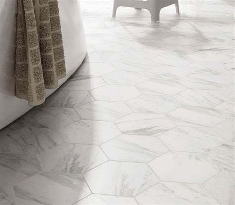 hexagon tile carrara imitation porcelain floor