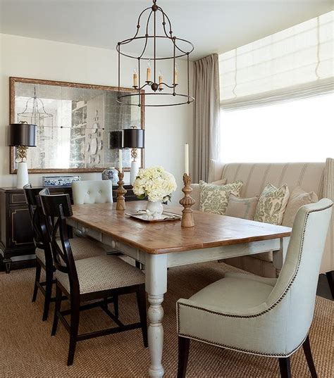 farmhouse dining table  wingback settee transitional