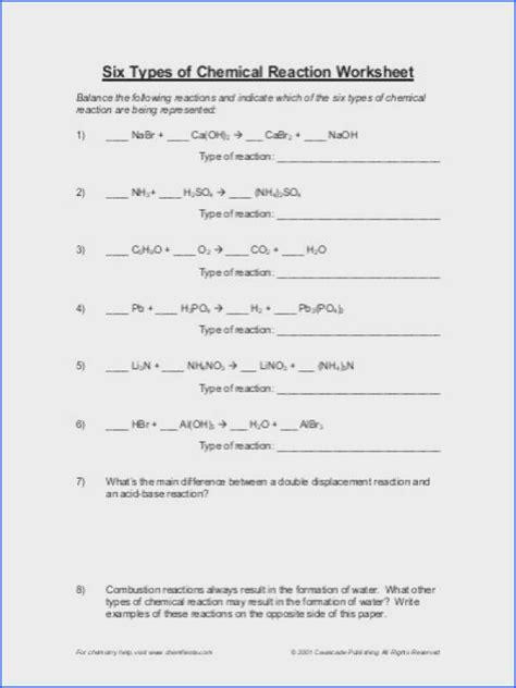 types  chemical reactions worksheet worksheets kids