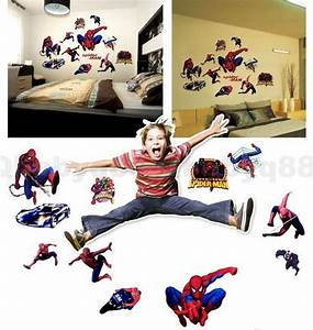 Diy superhero wall decor : Spider man hero wall decals removable stickers home diy