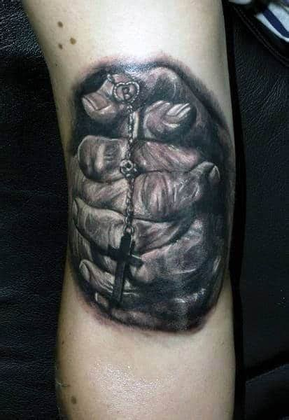 praying hands tattoo designs  men silence  mind