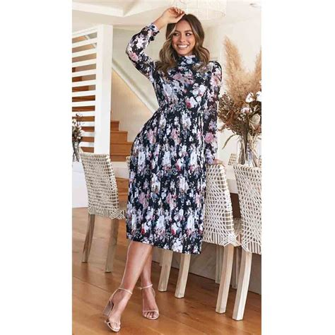 Women Date Night Party Floral Chiffon Pleated Dress With