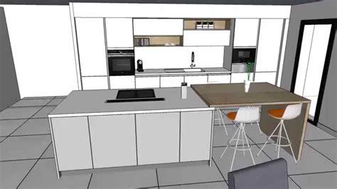 cuisine avec ilot cuisine moderne laquée blanc brillant avec îlot