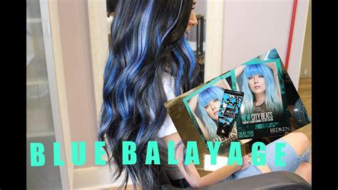 Blue Balayage On Black Hair