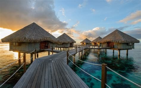 Nature, Landscape, Resort, Sunrise, Sea, Bungalow, Bridge