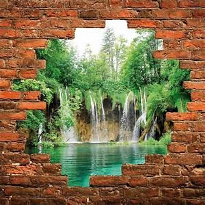 Mur Trompe L Oeil : sticker mural trompe l 39 oeil mur de pierre cascades stickers autocollants ~ Melissatoandfro.com Idées de Décoration