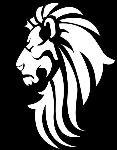 black white lion head clip art  clkercom vector